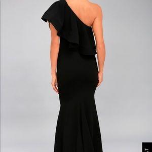 Black one shoulder floor length dress